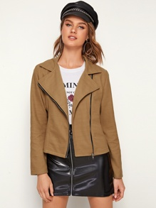 Zip Up Lapel Neck Biker Jacket