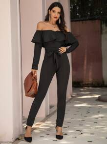 Off The Shoulder Ruffle Trim Self Tie Jumpsuit
