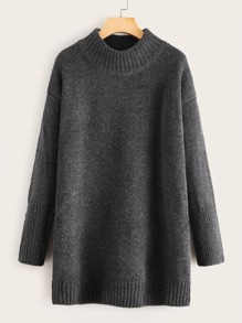 Drop Shoulder Stand Collar Sweater