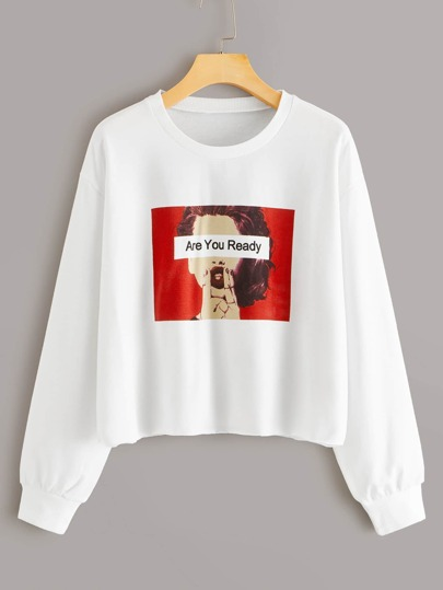 Figure & Letter Graphic Round Neck Sweatshirt