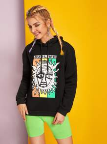 Comic & Letter Graphic Drawstring Hoodie