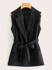 Solid Pleated Ruffle Trim Belted Vest