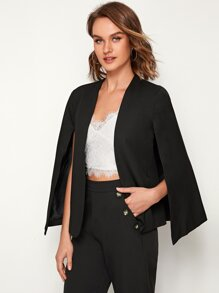 Solid Open Front Cape Blazer