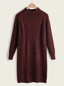 Solid Soft Brushed Knit High Neck Sweater Dress
