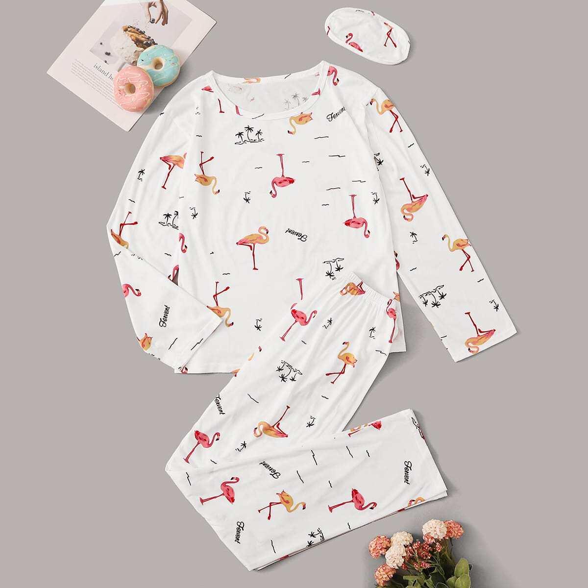 """Пижама с принтом """"фламинго"""" и маской для глаз"""