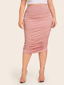 Plus Solid Ruched Bodycon Skirt