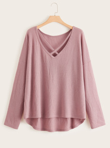 Plus Criss Cross Curved Hem Drop Shoulder Sweater