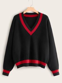 Plus Chevron Print Drop Shoulder Cricket Sweater