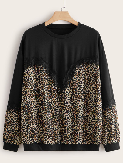Plus Leopard Lace Trim Long Sleeve Tee