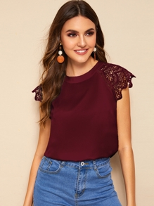 Contrast Lace Cuff Keyhole Back Blouse