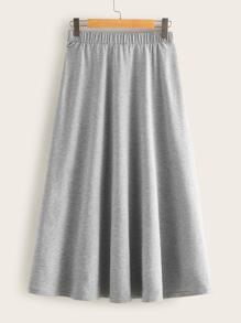Plus Solid Drawstring Waist Longline Skirt