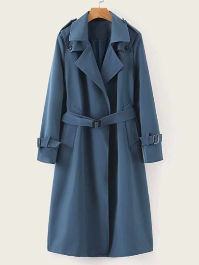 Self Tie Lapel Neck Buttoned Trench Coat