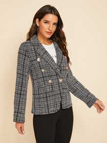 Double Button Front Pocket Lapel Tweed Blazer