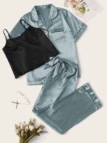 3Pcs Satin Cami With Shirt & Pants PJ Set