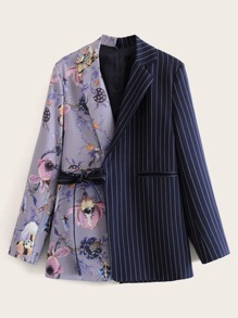 Tie Side Floral And Stripe Spliced Blazer