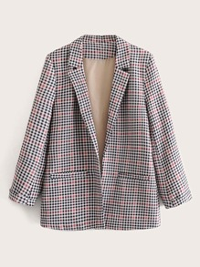 Lapel Collar Dual Pockets Plaid Blazer