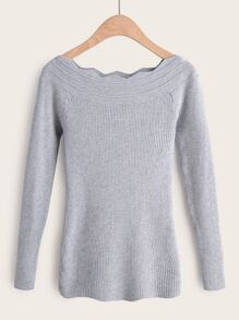 Bardot Wave Edge Trim Slim Fit Sweater