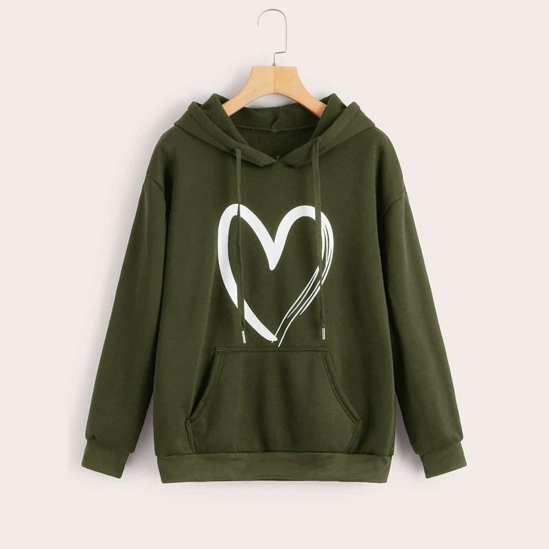 Heart Print Kangaroo Pocket Hooded Sweatshirt, Army green
