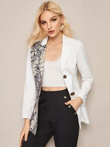 Two Tone Snakeskin Print Belted Blazer