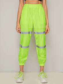 Neon Green Contrast Panel Windbreaker Carrot Pants