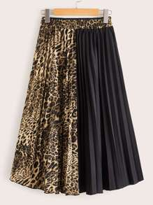 Two Tone Leopard Print Pleated Skirt
