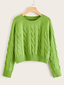 Neon Green Cable Knit Raglan Sleeve Sweater