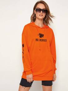 Neon Orange Rose & Letter Graphic Hoodie