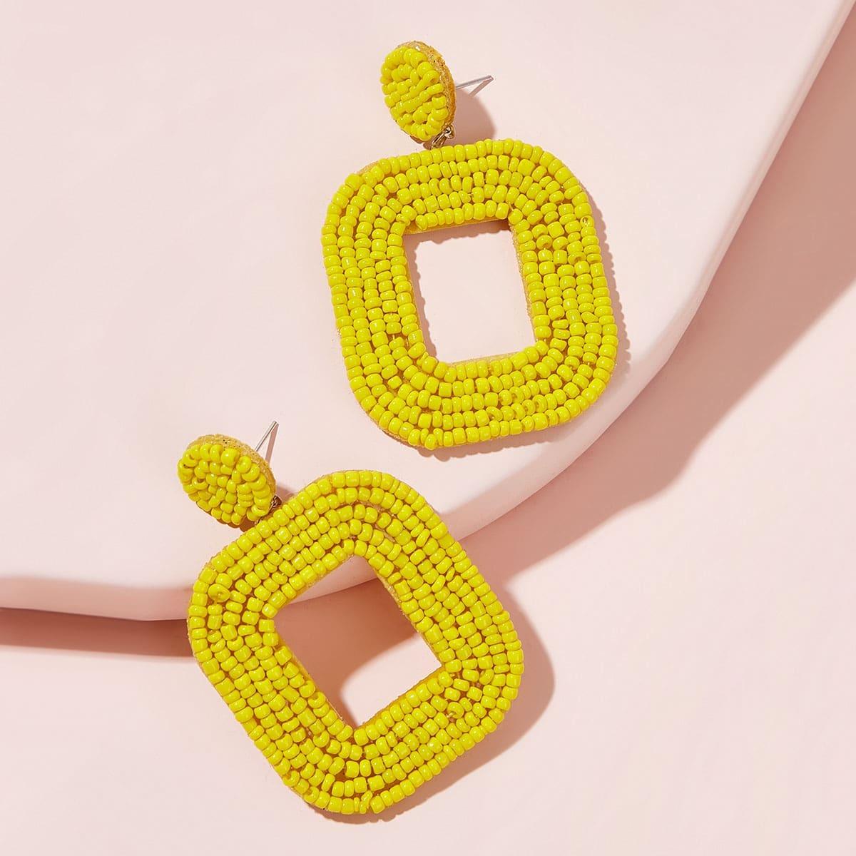 Geometrische Tropfenohrringe mit Perlen 1 Paar