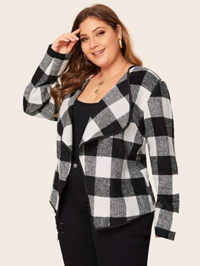 Plus Buffalo Plaid Print Waterfall Collar Open Front Coat
