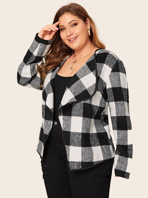 Plus Gingham Print Waterfall Collar Open Front Coat by Sheinside