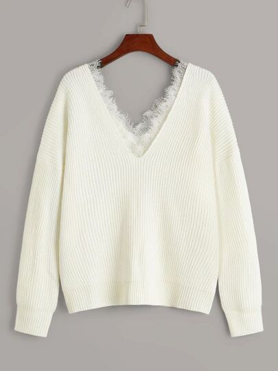 Plus Ribbed Lace Trim Drop Shoulder Sweater