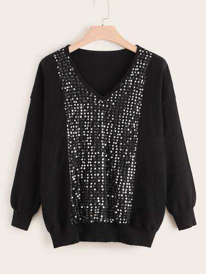 Plus Sequin Contrast Drop Shoulder V Neck Sweater