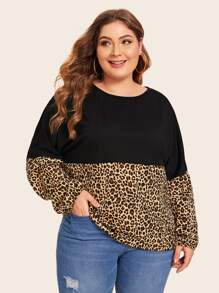 Plus Leopard Contrast Long Sleeve Tee