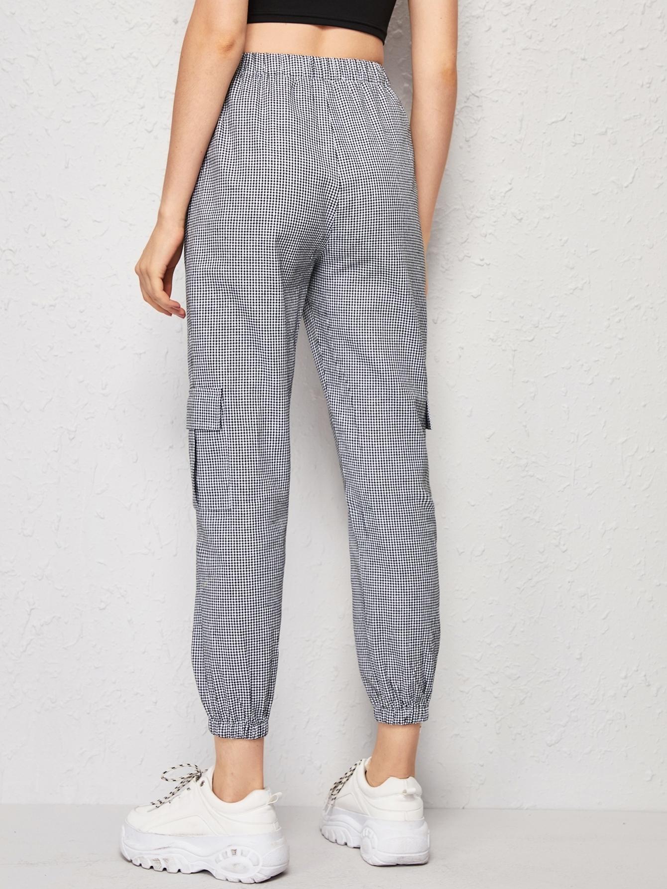 Pantalones cargo de cintura con cordón con bolsillo con ...