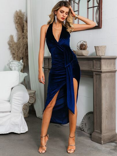 Glamaker Backless Draped Asymmetrical Hem Velvet Dress