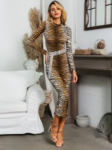 Glamaker Tiger Pattern Bodycon Dress Without Belt