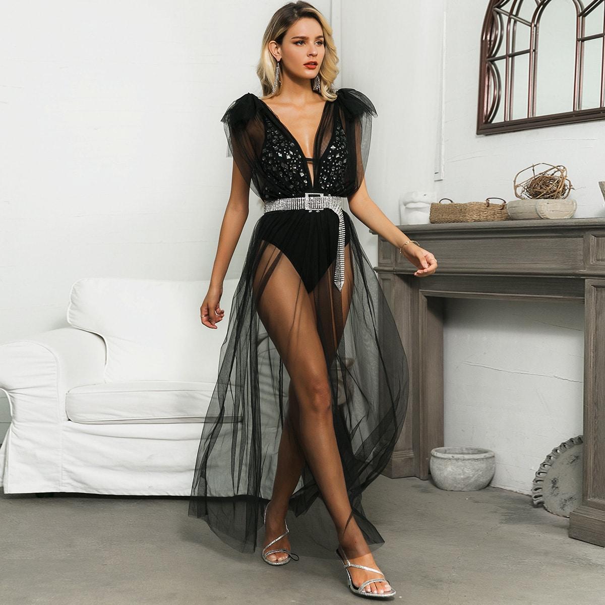 Glamaker Kleid mti tiefem Kragen, Netzstoff ohne Body & Gürtel