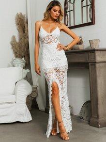dress,Glamaker Split Hem Guipure Lace Maxi Cami Dress - $26.95