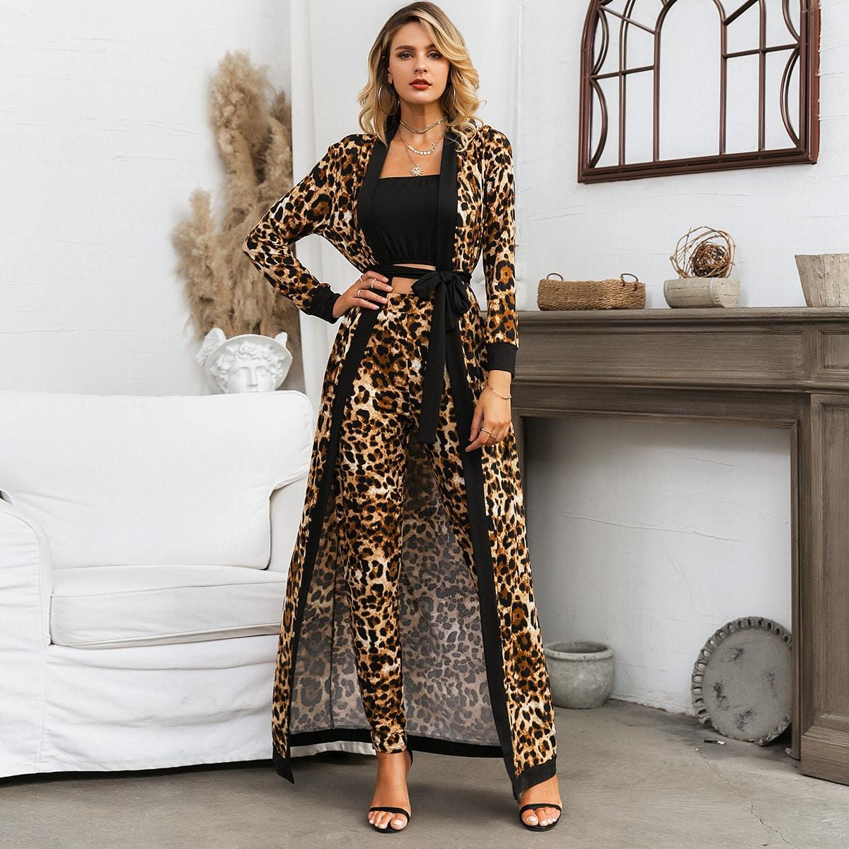 Glamaker топ без бретелек, леопардовые брюки и пальто с поясом