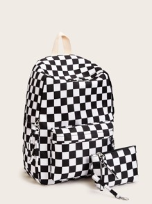 Gingham Backpack With Clutch
