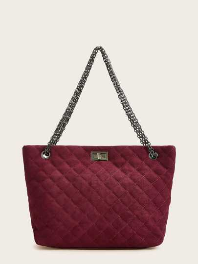 Twist Lock Quilted Chain Tote Bag