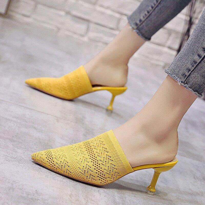 Жёлтый одноцветный деловый стиль  каблуки
