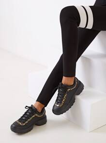 Lace-up Front Leopard Pattern Chunky Sneakers