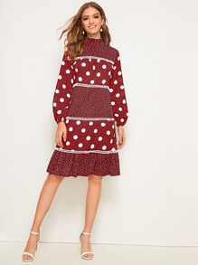 Polka Dot Print Frill Neck Flounce Hem Dress