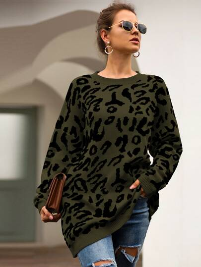 Leopard Print Drop Shoulder Jumper