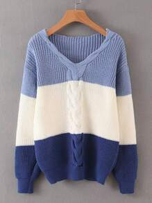 Colorblock Twist Cable Knit Sweater