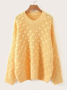 Pointelle Knit Drop Shoulder Sweater
