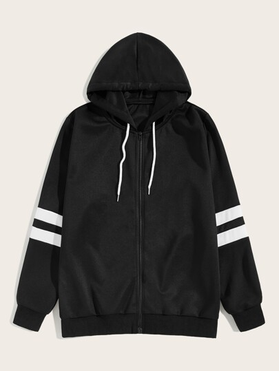 Guys Varsity Striped Drawstring Hooded Jacket