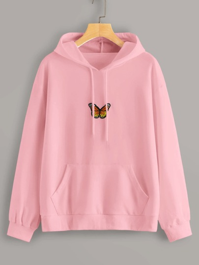 Butterfly Embroidery Kangaroo Pocket Drawstring Hoodie