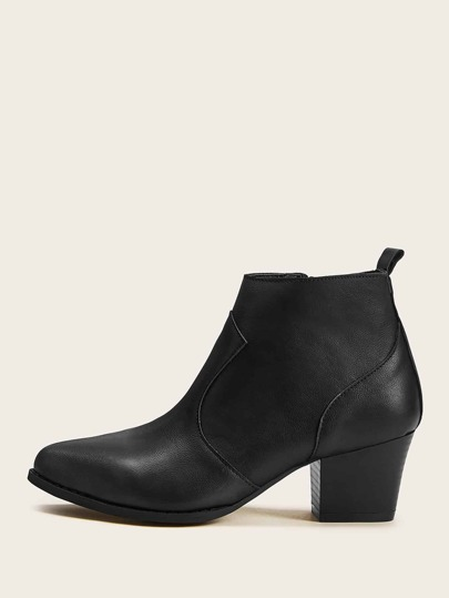 Point Toe Side Zipper Ankle Boots